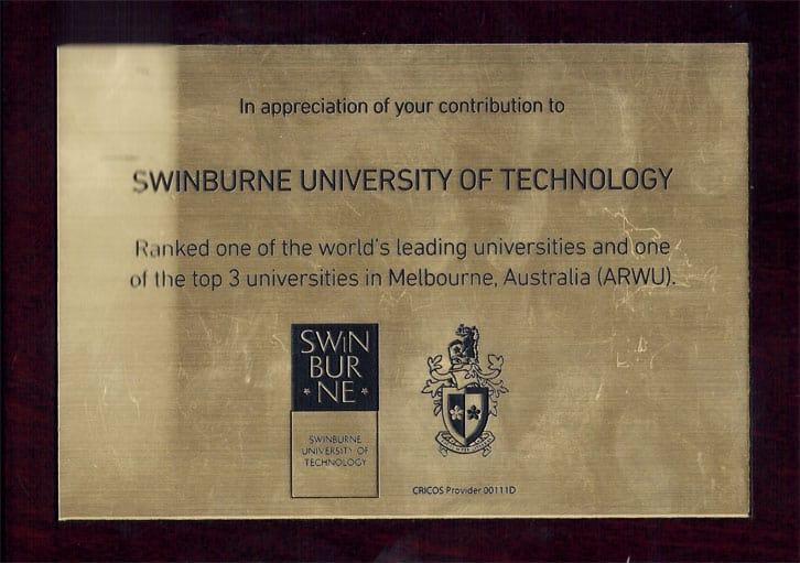 Appreciation of Contribution to Swinburne University of Technology